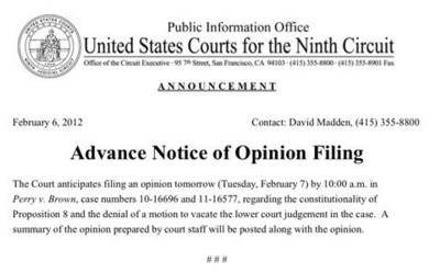 2012_02_07_Prop 8 9th Circuit Ruling Notice